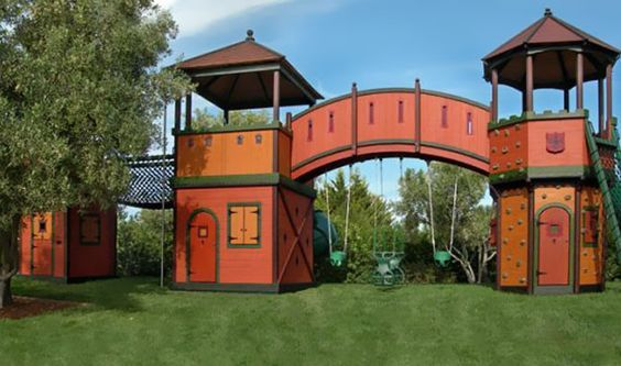 playhouse with bridges | Extreme Kids Playhouses at WomansDay.com - Outside Playhouses for Kids ...: