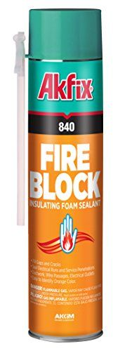 Akfix 840 Fireblock Insulating Foam Sealant, Orange, 12 OZ (Pack of 12)  Seals electrical runs and service penetrations, ductwork, wire passages, and electrical outlets  Easy to identify orange color  Prevents fire, flames spreading as quickly  Provides airtight and water resistant seal  Comes with a straw for easy application