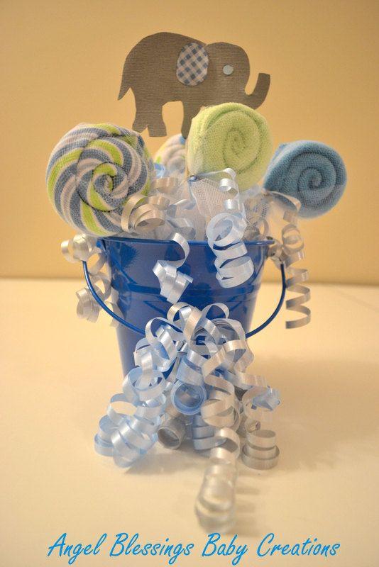 boy baby shower centerpiece baby washcloth lollipops baby shower