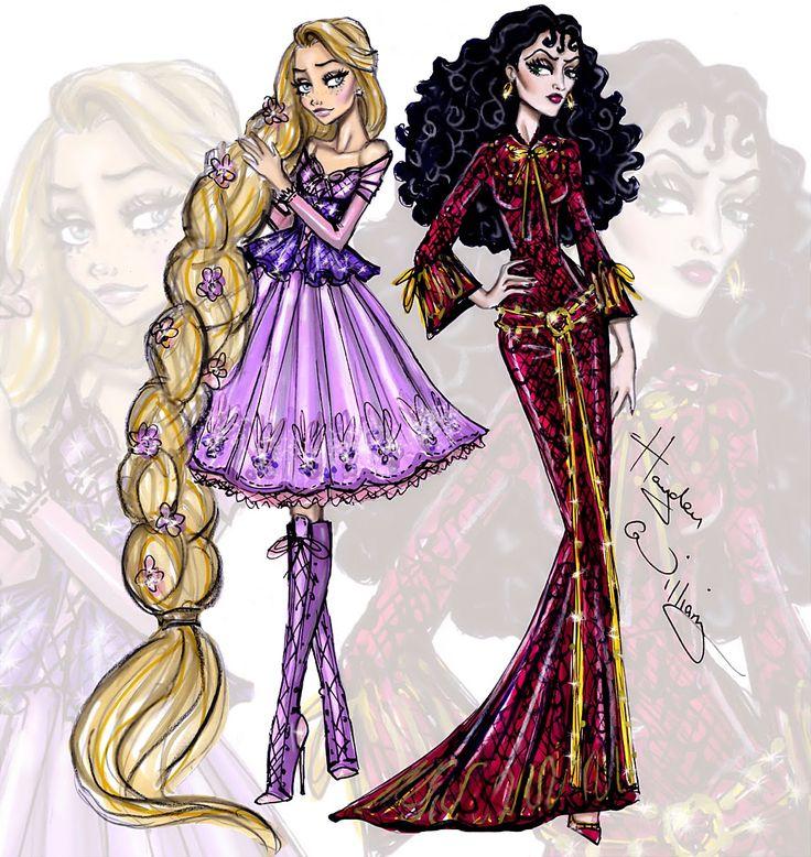 #Hayden Williams Fashion Illustrations #Princess vs Villainess by Hayden Williams: Rapunzel & Mother Gothel