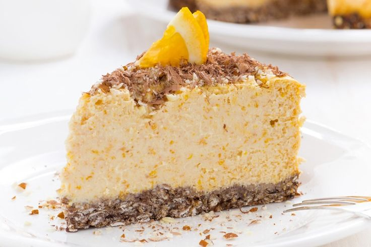 Cheesecake all'arancia con fondo biscottato croccante