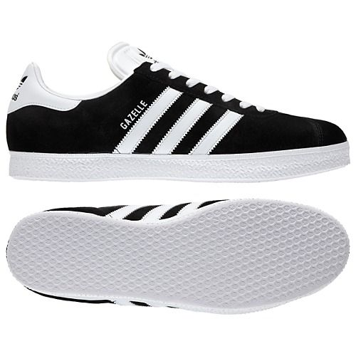 The classic Adidas black Gazelle shoe sets itself apart with its white side  stripes and the Adidas logo on the heel tab. The Gazelle training.
