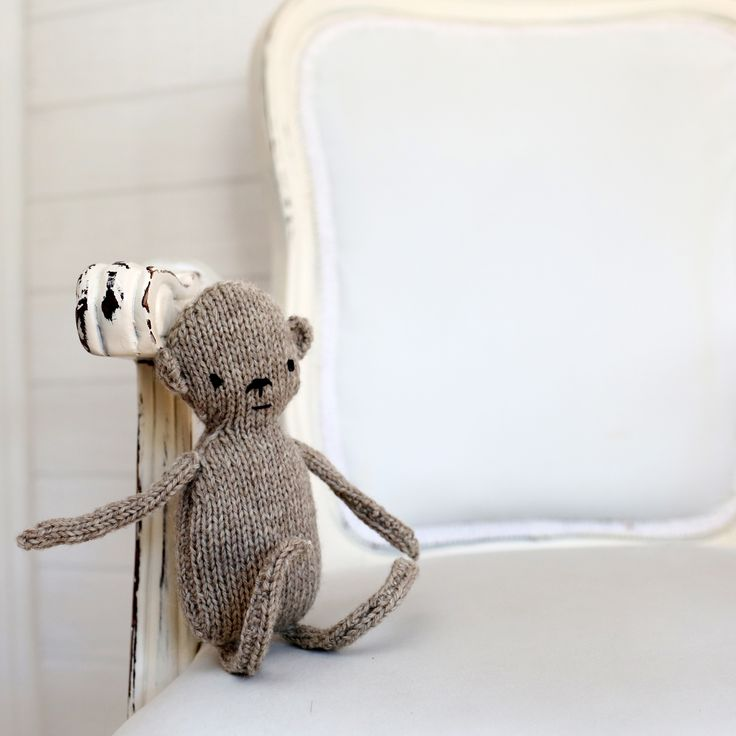 Handmade, unique knitted natural monkey toy from Only One (photo by:  www.MLoveLife.com)