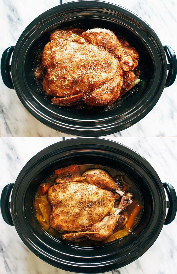 Slow Cooker Whole Roasted Chicken | pinchofyum.com