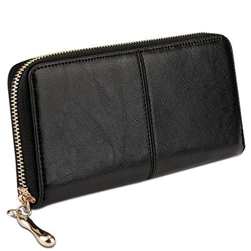 Yahoho Damen Reißverschluss herum gross echtes Leder Geldbörse Karte Phone  Scheckbuch Holder Wrist Gurt schwarz Yahoho