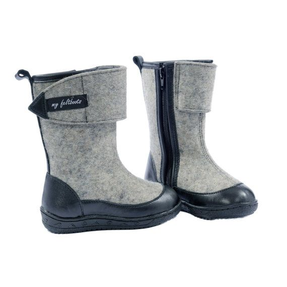 grey felted shoes valenki for kids unisex winter by myfeltboots, €77.00