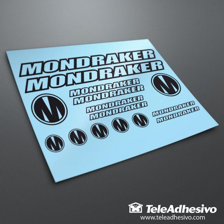 Kit pegatinas Bicicleta Montaña BTT Mondraker 1. 2 Mondraker 30x2,8 cm. 2 Logos 6x6 cm. 2 Mondraker 15x1,4 cm. 2 Mondraker 12x1,1 cm. 5 Logos 3x3 cm. 2 Mondraker 10x9 cm. Espátula incluida.