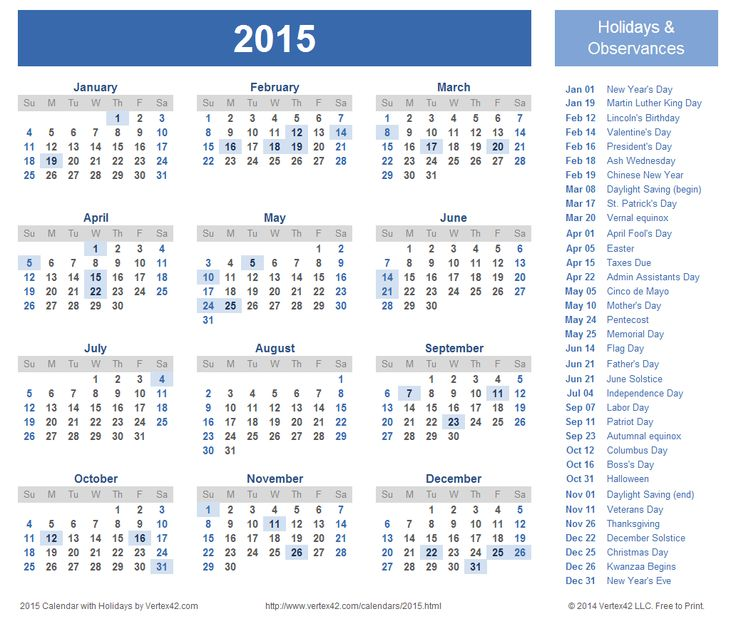Download free printable 2015 Calendar Templates that you can easily edit and print using Excel. Use our Yearly 2015 Calendar Images on your website.