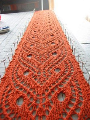 Free knitting pattern for Tiger Eyes Lace Scarf  Toni Maddox designed this scarf for fingering yarn. Requires blocking.