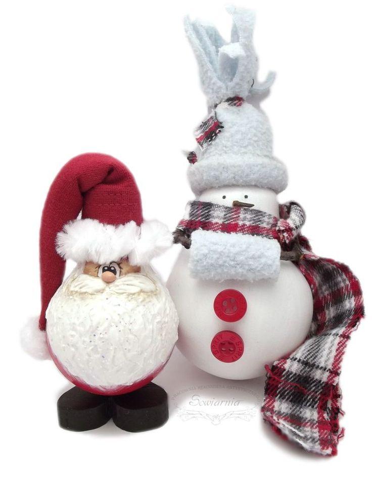Handmade lightbulb Santa and snowman / Mikołaj i bałwanek z żarówki