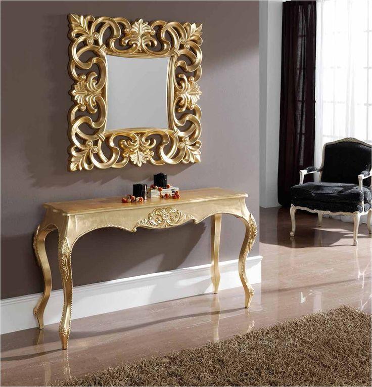 Espejo Barroco Cuadrado De Resina Acabado Oro 100cm X