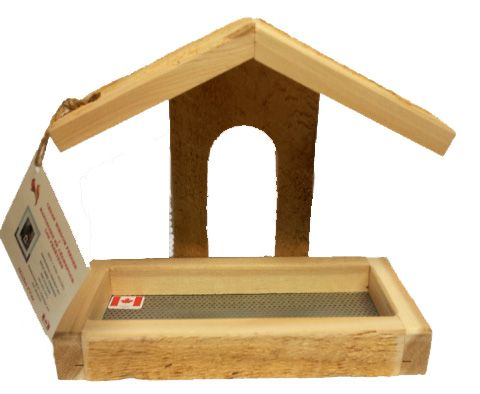 PYW   Cedar window feeder with removable tray. Strong Velcro holds feeder to glass. Made in Canada