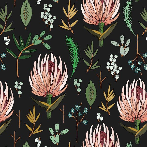 Today S Drawing Floral Study With The Protea Flower Boho Bohemian Jungalowstyle Art Fabric Hollizol Prints Botanical Pattern Botanical Illustration