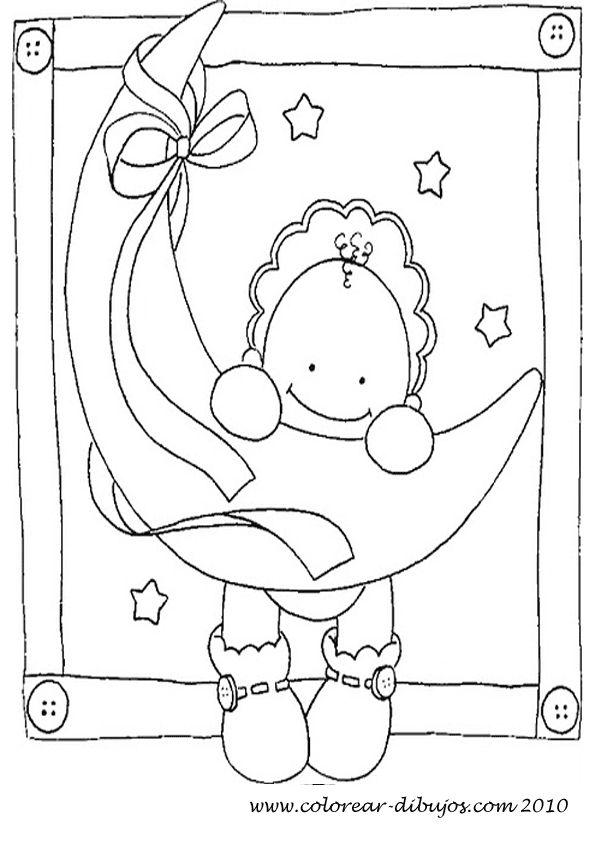 Dibujos para colorear de bebes bebe colgado de la luna dibujos pinterest la luna and bebe - Bebes dibujos infantiles ...