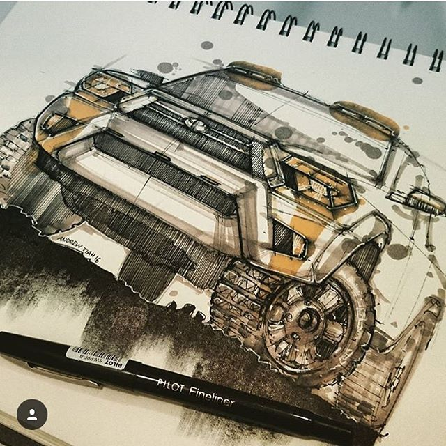Credit: @andrew_designs Not your average render technique. Incredible stuff 👌🏼Check out Andrews other sketches. #everydaydesignuk #designinspiration #sketchbook #sketchrender #pilot #copic #automotivedesign #style #industrialdesign #idsketch #4x4 #toyota #suv