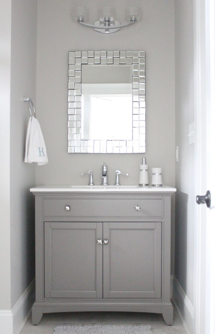 Bathroom paint grey - Grey And White Bathroom With Mirror Paint Color Repose Gray By Sherwin Williams