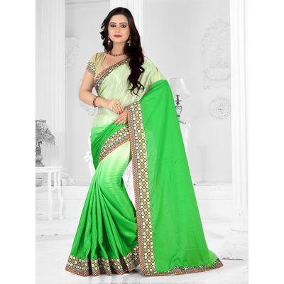 sareeka sarees green silk Saree with blouse piece