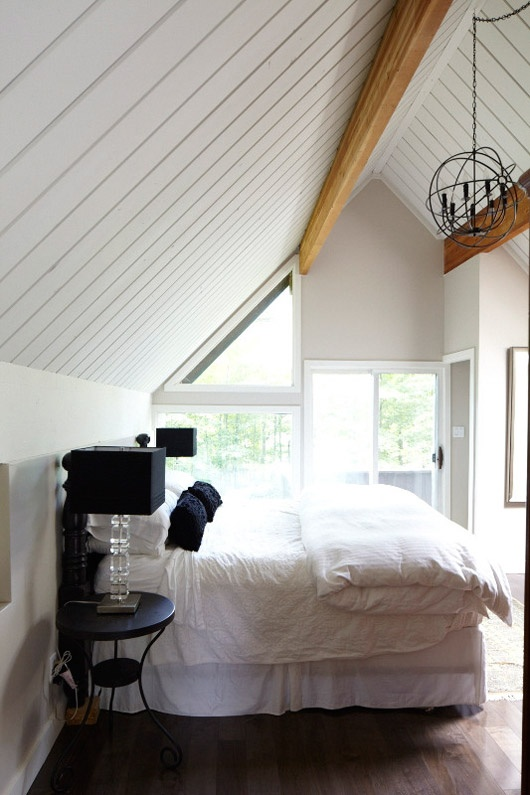 bedroom, slanted ceiling neutral colors, white on top