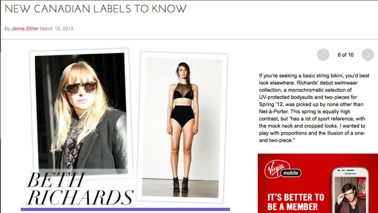 Glam Canada  listed BETH RICHARDS as 1 of 9 Canadian labels to know and love.