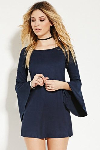 Faux Suede Trumpet-Sleeve Dress | Forever 21 - 2000151832
