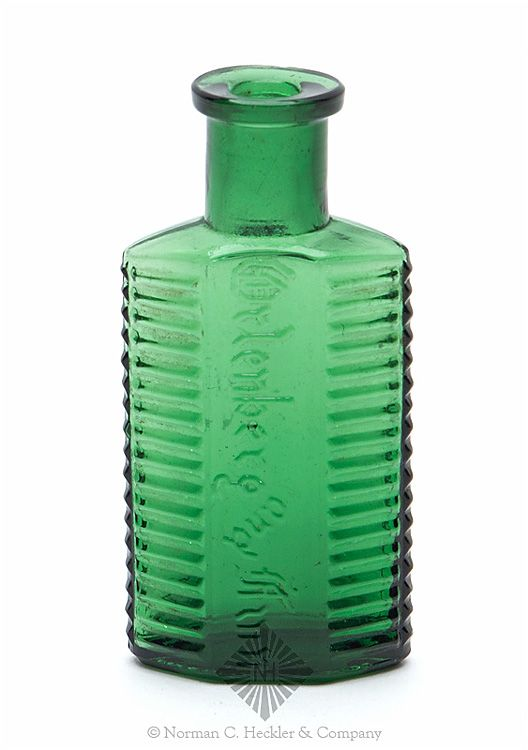 """""""Ortenberg And Finn"""" Poison Bottle, America, 1880-1890. Irregular hexagon, emerald green, square tooled lip - smooth base, ht. 3 1/2 inches; (tiny flake off side of mouth). KI-2 Great color and size. Rare. #Bottles #Poison #MADonC"""