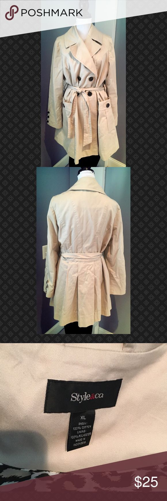 Cream Double Breasted Trench Coat Cream Double Breasted Trench Coat Style & Co Jackets & Coats Trench Coats