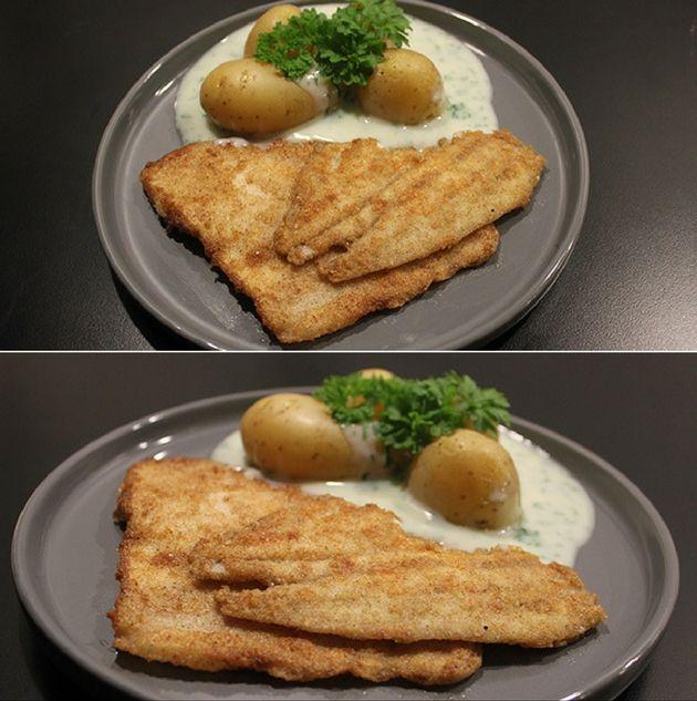 En utrolig nem og lækker ret med panerede og sprødstegte fiskefileter, kogte kartofler og persillesovs. Mums!