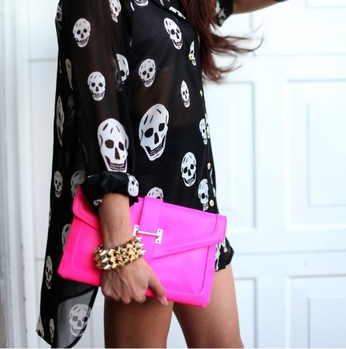 Skulls and neon...great mix!: Skulls, Fashion, Style, Clothes, Neon, Bag, Hot Pink, Pink Clutch
