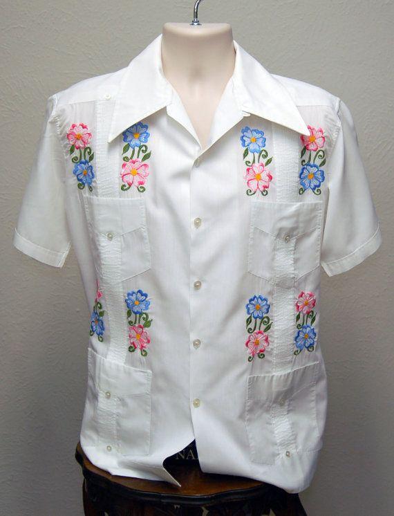 70s vintage cuban guayabera white mens medium shirt mexican wedding shirt