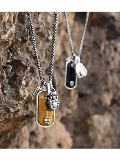 Yaf Sparkle Jewelry Boutique: Buddha to Buddha, Tiger's Eye and Onyx Stone Pendant, Buddha Pendant and Essential Necklace