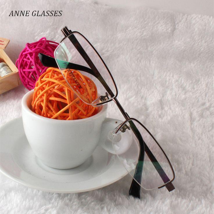 ANNE GLASSES Clear Glasses Frame Men Half Rim Titanium Eyeglass Frame Eyewear for Prescription Glasses 8237 Myopia Optical Frame