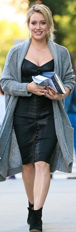 Who made  Hillary Duff's black satin dress and suede ankle boots?
