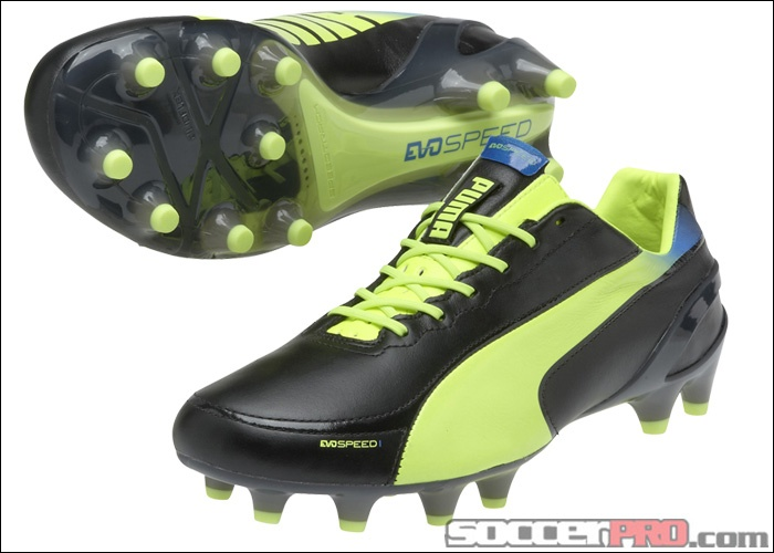 Puma evoSPEED 1.2 Leather FG Soccer Cleats - Black with Fluo Yellow