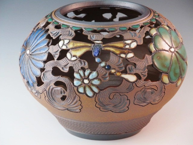 Large Cutout Vase Wtih Dragonflies And Flowers Swirl by potmaker, $46.00