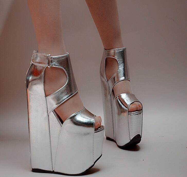 Cheap wedge sandals, Buy Quality womens wedge sandals directly from China sandals sexy Suppliers: MANMITU6-Free shipping European vogue summer heels women wedges sandals fashion sexy cut-outs platform shoes trifles silver 17cm
