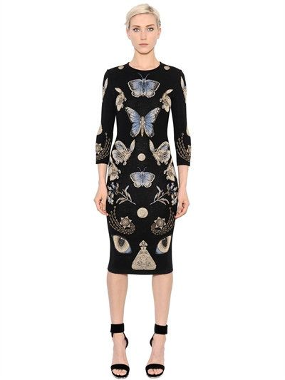 ALEXANDER MCQUEEN - BUTTERFLY WOOL BLEND JACQUARD KNIT DRESS - LUISAVIAROMA - LUXURY SHOPPING WORLDWIDE SHIPPING - FLORENCE