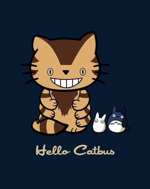 Hello Catbus, my neighbor totoro, hello kitty, mashup