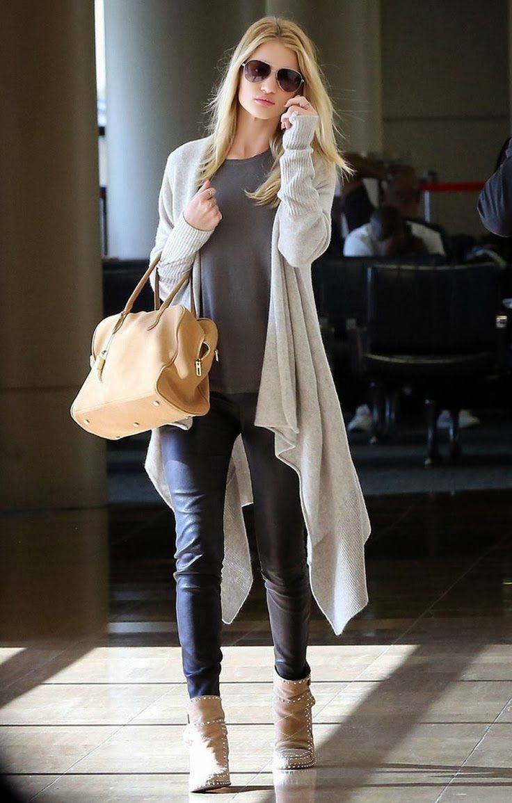 Consider teaming a nude open cardigan with black leather fitted pants and you'll look like a total babe. Polish off the ensemble with tan studded suede booties.  Shop this look for $193:  http://lookastic.com/women/looks/sunglasses-long-sleeve-t-shirt-open-cardigan-tote-bag-skinny-pants-ankle-boots/7906  — Dark Brown Sunglasses  — Charcoal Long Sleeve T-shirt  — Beige Open Cardigan  — Tan Leather Tote Bag  — Black Leather Skinny Pants  — Tan Studded Suede Ankle Boots