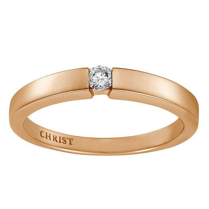 Pin for Later: Verlobungsringe aus Rotgold sind echte Multitalente  CHRIST Diamantring aus 333er Rotgold, Diamant: 0.1 Karat (249 €)