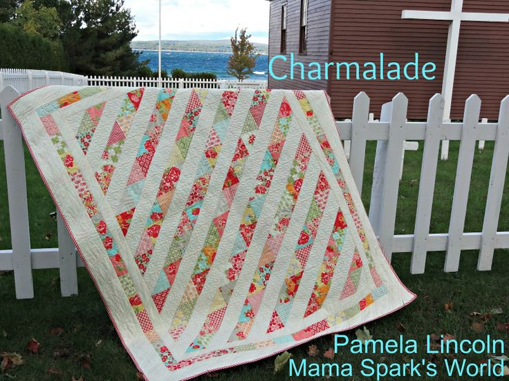 3 Charm Packs of Marmalade (SKU 55050PP)  2 Charm Packs Moda Bella Snow  1 3/4 yards Moda Bella Snow (borders) (SKU 9900 11)  1/2 yard Marmalade raspberry and white stripe (SKU 55054 12)  4 yards Marmalade Red Flower on Aqua (backing) (SKU 55050 17)