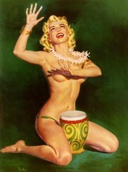 Hula Girl: Vintage Illustrations, Al Brulee, Vintage Pinup, Vintage Pin Up, Pin Up Art, Pinup Girls, Bongo Bongo, Pinup Art, Pin Up Girls