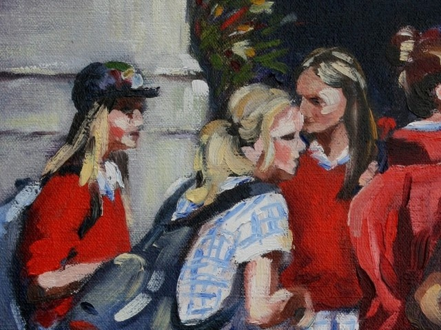 These school girls are painted in a lot of detail which I like. I love the bright red jumpers and the gorgeous flowers in the background. A lovely painting!