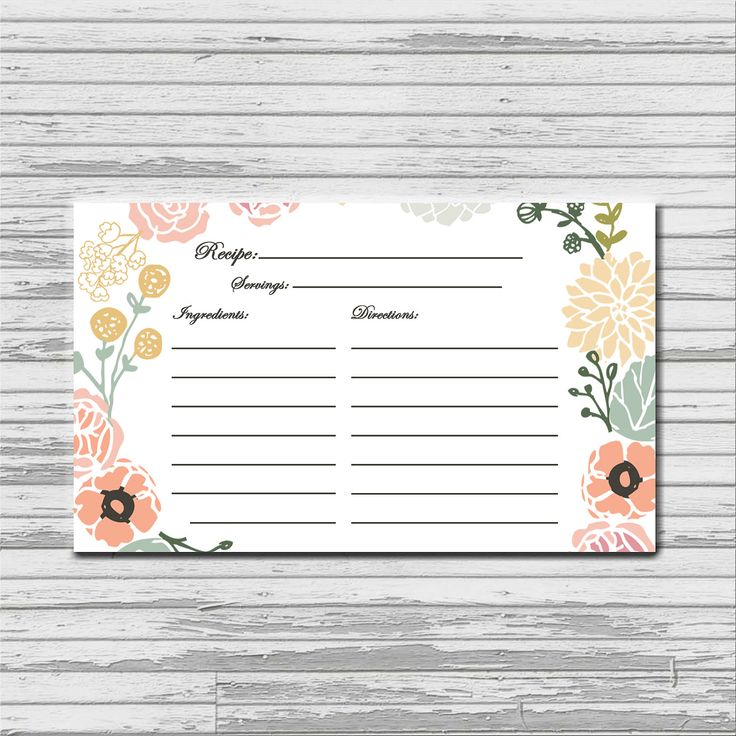 cute from etsy shop bellaloveletters pastel flower recipe card 3x5 printable download. Black Bedroom Furniture Sets. Home Design Ideas