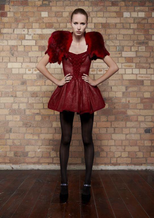 kyleedavis.com When The Sun Goes Down Dress from 100% merino and Happy & Bleeding Fur Stole made from 100% Possum Skin/Fur