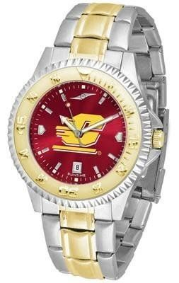 Central Michigan University Men's Stainless Steel and Gold Tone Watch by SunTime. $94.95. Officially Licensed Central Michigan University CMU Chippewas Men's Stainless Steel and Gold Tone Watch. Men. AnoChrome Dial Enhances Team Logo And Overall Look. Links Make Watch Adjustable. Two-Tone Stainless Steel. College two tone men's stainless steel and gold dress watch. A classic, business-appropriate look. Central Michigan Chippewas wrist watch features a gold ion-plated bezel, st...