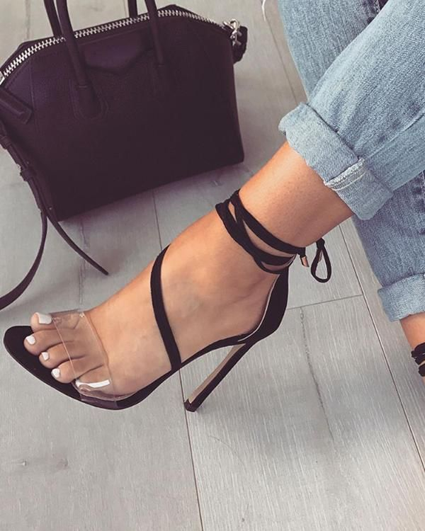 Transparent Strap Open Toe Thin High Heeled Sandals Shoes