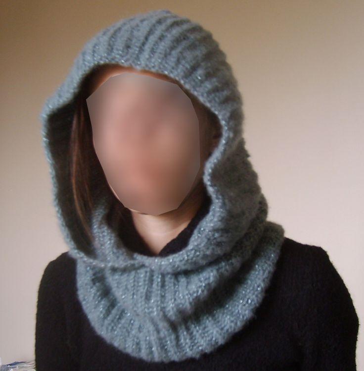 Snood capuche tuto francais ok :  laine pour aiguille n5, 2 couleurs ensemble