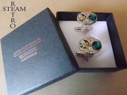 Hommes boîte-cadeau Emerald Boutons de manchette Boutons de manchette - Steampunk - Steampunk Boutons de manchette Accessoires-mariage - Boutons de manchette