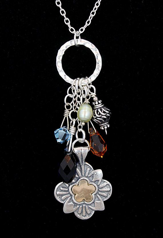 Stunning, long sterling charm necklace with clusters of bright Swarovski crystals, sterling, and pearls.