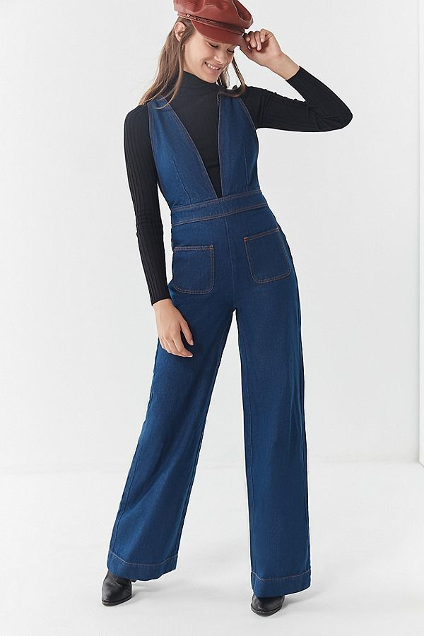 39a0ccadf UO Eleanor Plunging Denim Jumpsuit in 2019 | Your Pinterest Likes ...
